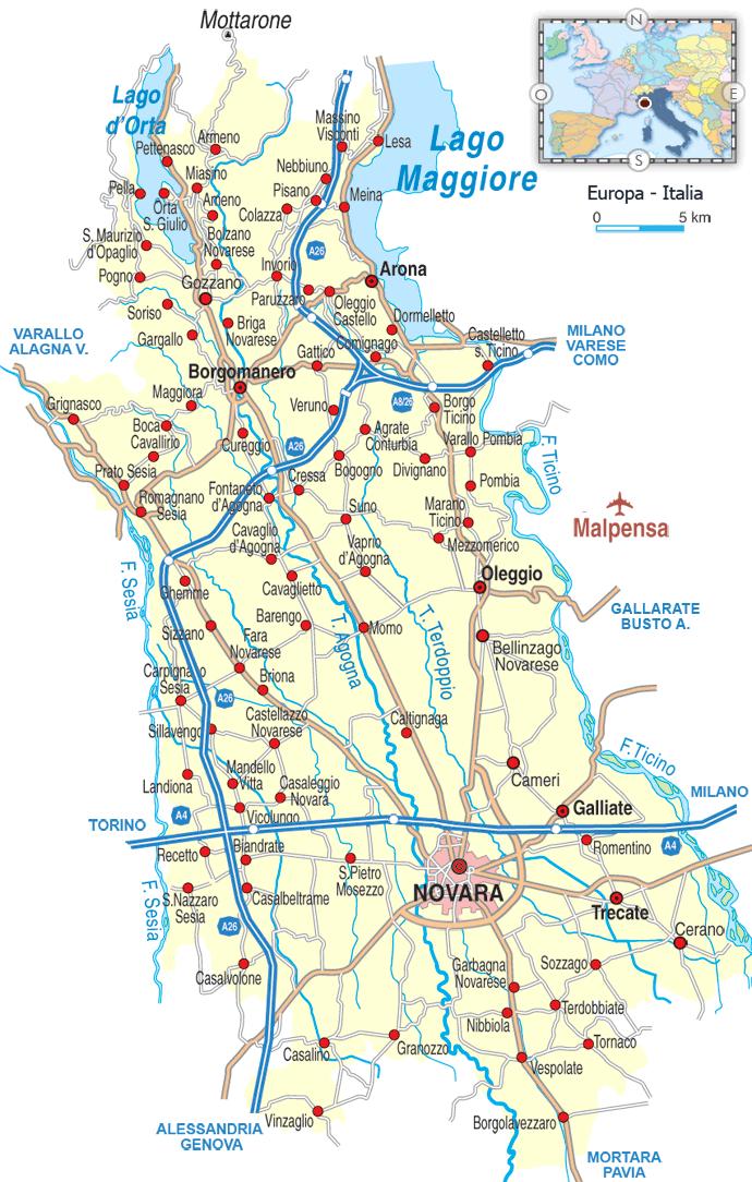 provincia di novara cartina geografica